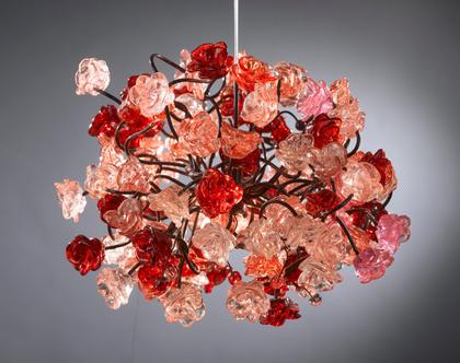 גוף תאורה פרחים תלויים ורוד ואדום