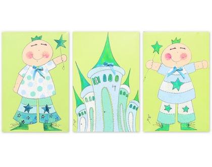 סט תמונות לעיצוב חדר הילדים | נסיכים וטירה קסומה | ציורים על קנבס לקיר