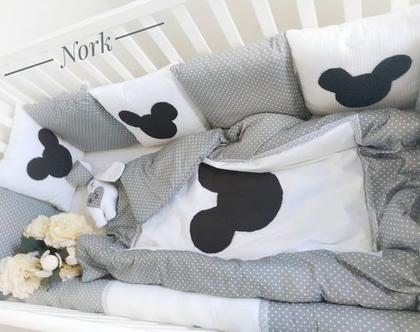 סט למיטת תינוק מיקי מאוס אפור