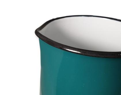 חסר - קנקן ירוק טורקיז כהה | אגרטל| קנקן מים| קנקן תה | כד אמאייל | אמייל
