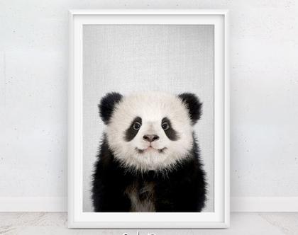 פנדה | תמונה לחדר ילדים | עיצוב לחדר ילדים | פוסטר לחדר ילדים | חדרי תינוקות | תמונות לתליה | תמונות למסגור | שחור לבן | סט פוסטרים