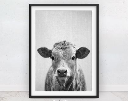 תמונה של פרה | פוסטרים של חיות | עיצוב מינימליסטי | בעלי חיים תמונות | תמונה על הקיר | עיצוב חדשני | מתנה לבית | הדפס שחור לבן | סט פוסטרים