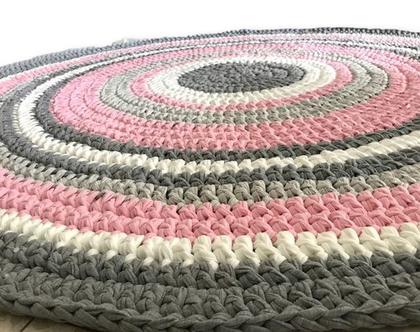 שטיח גדול במיוחד לחדר הילדה, שטיח סרוג קוטר 1.60 ורוד, אפור, שמנת   שטיח עגול   שטיח לחדר ילדות   צבעים שכל ילדה אוהבת   ורוד  אפור