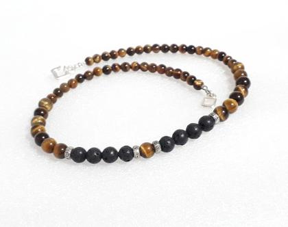 שרשרת טייגר איי -שרשרת אבני חן - taiger eye necklace - שרשרת בגווני חום - טייגר איי - לבה שחורה