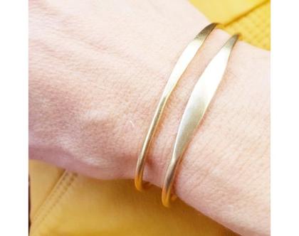 צמיד זהב פתוח רחב   צמיד בעבודת יד   שיק