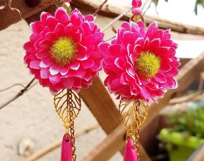עגילים תלויים, פרח ורוד