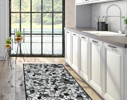 שטיח פי.וי.סי abstract pattern stones | שטיח למטבח שחור לבן |שטיח פי.וי.סי שחור לבן