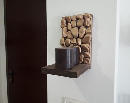 זוג מדפים מעוצבים משולבים עץ ואבן