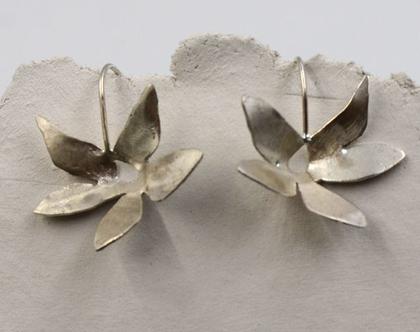 עגילי פרח כסף
