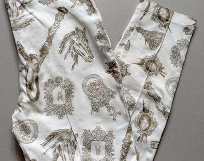 מכנס אלגנטי אייטיז | מכנס צבע קרם בהדפס זהב קלאסי ומיוחד מידה 40