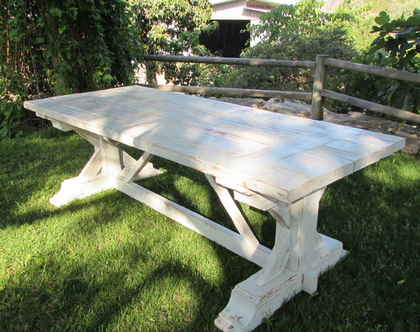 שולחן כפרי מעץ מלא - לבן