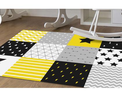 שטיח פי.וי.סי לחדר ילדים | שטיח טלאים לחדר תינוק | שטיח צהוב שחור | שטיח PVC לחדר ילדים |שטיח PVC מעוצב לחדר ילדים