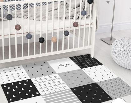 שטיח פי.וי.סי לחדר ילדים | שטיח טלאים לחדר ילדים | שטיח אפור שחור | שטיח PVC לחדר ילדים | שטיח PVC מעוצב לחדר ילדים