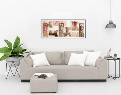 תמונה גדולה לסלון ולמשרד - בצבעים חומים ואדומים-לצמיחה והצלחה בעסק ובבית