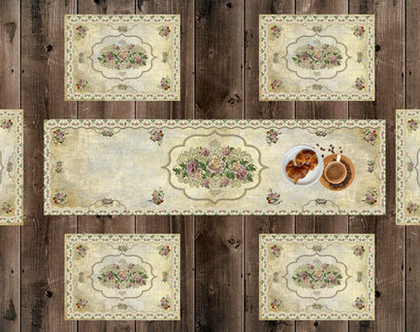 ראנר חגיגי ♥ סט ראנר ופלייסמטים בעיצוב וינטג' דיזיין | ראנר ויניל מעוצב לשולחן | ראנר מבודד חום | ראנר לשולחן האוכל