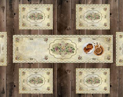 סט ראנר ופלייסמטים ♥ בעיצוב וינטג' דיזיין | ראנר ויניל מעוצב לשולחן | ראנר מבודד חום | ראנר לשולחן האוכל