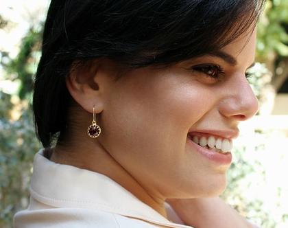 עגילי זרקון סגול תלויים / עגילי גולדפילד עם אבן חן / עגילי זרקון בצבע אמטיסט / עגילים סגולים / עגילים לאשה / מתנה ליום נישואין / משלוח חינם!