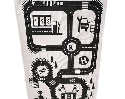 שטיחון משחק מכוניות I שטיחון מכוניות I שטיחון משחק לחדר ילדים I שטיחון בד למשחק
