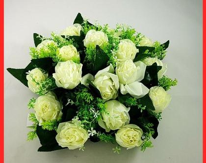 סידור פרחים לבנים | מרכז שולחן חגיגי | פרחי משי