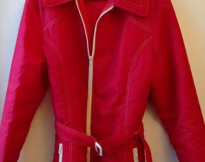 ג'קט סקי אדום סבנטיז | ג'קט מרופד סבנטיז לאישה מידה L XL
