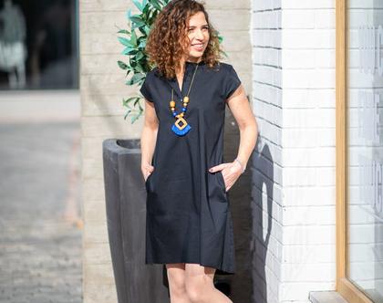 שמלה יפה ליום יום או לאירוע, שמלה מכופתרת, שמלה קצרה לקיץ, שמלת אוברסייז, שמלה שחורה, שמלה עם כיסים