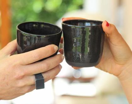 ספל קרמיקה | ספל קפה שחור | כוס קפה | ספל מעוצב | הפסקת קפה