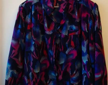 חולצה אייטיז צבעונית לאישה | חולצת אייטיז TRIVAGE וינטג' מקורי מידה 44