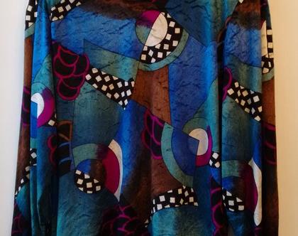 חולצה קטיפה צבעונית אייטיז לאישה | חולצה קטיפה בהדפס פסיכדלי וינטג' מקורי מידה M L