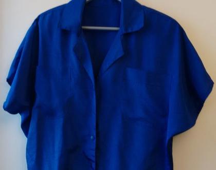 חולצה כחול רויאל אייטיז | חולצה קזואל לאישה משנות ה80' מידה M L