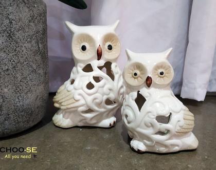 עיצוב לבית, חיות, ינשופים, עיצוב לשולחן, מתנה לחג, חרסינה, פסל נוי, פסל חרסינה, נרות, עיצוב אוירה, מתקן לנרות, זוג ינשופים אהבה לבן tks021