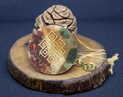 """תליון זהב ייחודי עבודת יד: סמל """"קשר האינסוף"""" עם אבני החן קיאנייט, אמרלד וגרנט"""
