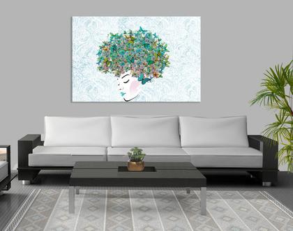 תמונת קנבס ♥ ButterfliesTurquoise in head| תמונה מיוחדת לסלון |תמונת קנבס ראש של אשה | תמונת ראש של אשה