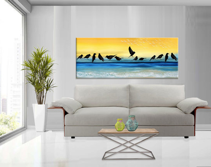 תמונת ציפורים | תמונת קנבס בעיצוב מקורי - Birds on the beach| תמונה מעוצבת לסלון | תמונה מעוצבת למשרד | תמונה בעיצוב מינימליסטי