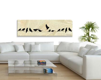 תמונת קנבס בעיצוב מקורי - Birds on wire| תמונה מעוצבת לסלון | תמונה מעוצבת למשרד | תמונה בעיצוב מינימליסטי ***השילוח חינם***