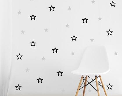 מדבקות קיר כוכבים חלולים ומלאים בשני גדלים | מדבקות כוכבים לקיר | מדבקות קיר כוכבים לילדים | מדבקות קיר לחדר ילדים כוכבים