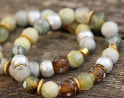 סט צמידי אבני חן טבעיות מסוג אגת בגווני צהוב חום / צמיד עבודת יד / צמיד אבנים / | B-285