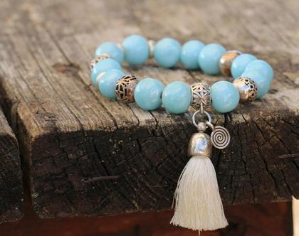 צמיד חרוזים / צמידי אבני חן טבעיות בצבעי טורקיז וכסף / B-291
