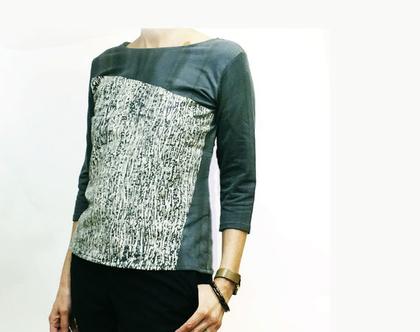 חולצת כותנה עם שרוולים באורך מרפק- חולצת הדפס עץ בגוון אפור ירקרק עם הדפס באופוויט