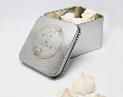 קופסת פח ממותגת מתנה לאורחים
