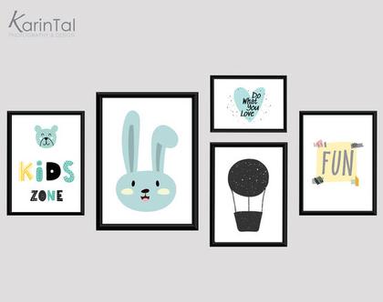 תמונות לחדרי ילדים | פוסטרים למסגור | תמונות לחדרי ילדים תינוקות | עיצוב חדר ילדים | ארנב