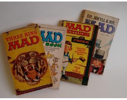 4 ספרים קומיקס MAD וינטג' | ספרי קומיקס MAD מהשנים 1960 - 1983