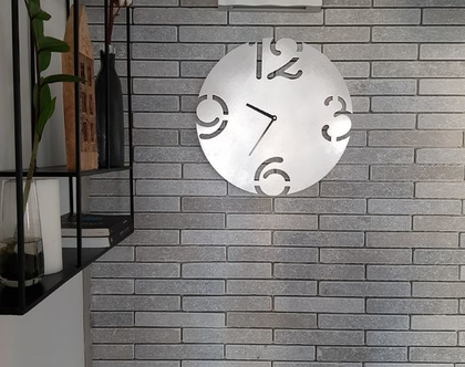 שעון קיר בצבע כסף   XL40CM   Silver