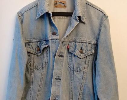 ג'קט LEVI'S ליוויס בהיר משופשף סיקסטיז   ג'קט ג'ינס LEVI'S סיקסטיז תווית אדומה וינטג' מקורי מידה L XL