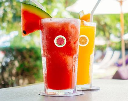 מדבקות עגולות בצורת אבטיח, תפוז ולימון להדבקה על כוסות | מיתוג כוסות למסיבות