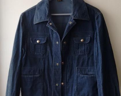 ג'קט קורדרוי LEE לי כחול   ג'קט קצר קורדרוי לי LEE וינטג' מקורי משנות ה60' מידה XL L