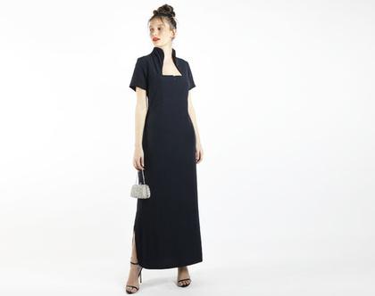 שמלה כחולה מקסי לאירוע עם שרוול קצר