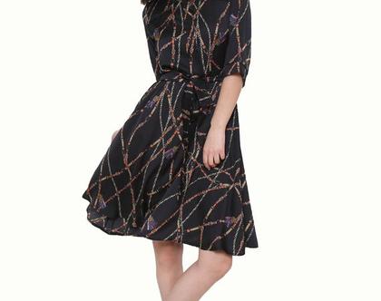 שמלת מרלין מודפס שחור