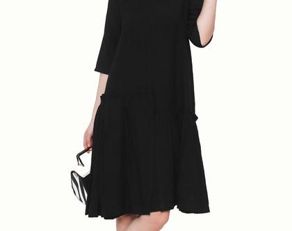שמלת וולאן אסימטרית שחור