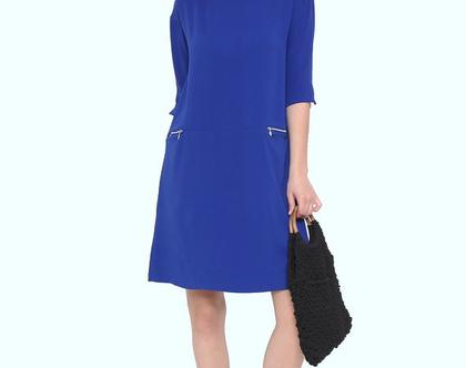 שמלת רוכסנים כחול רויאל