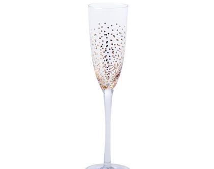 כוס שמפנייה מזכוכית נקודות זהב | RICE DK
